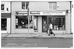 Longwell Records (Nodding Pig) Tags: longwellrecords record shop templestreet keynsham bathnortheastsomerset england greatbritain uk 2017 film scan monochrome 35mm negative ilford fp4 nikonfm2 nikkor50mmlens 20170430026101border