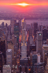 Elevated Manhattanhenge (Della Huff Photography) Tags: newyork manhattan manhattanhenge new york midtown chrysler building city summer sunset aerial helicopter nyonair flynyon