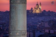 sunset rosé sur bastille (apparencephotos) Tags: paris bastille montmartre sunset sacrécoeur monument travel canonfrance