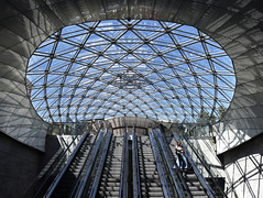 Entrance to Triangeln Station (RobertLx) Tags: modern contemporary architecture city entrance station transportation railwaystation lines skylight atrium geometric symmetry glass shadow grid sweden malmo triangeln nordic scandinavia europe stairs escalator circle line curve curves
