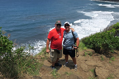 pals (BarryFackler) Tags: pololuvalley hawaii bigisland hawaiiisland polynesia outdoor kohala island hawaiicounty scenic vista overlook view hawaiianislands ocean trees waves water 2018 pacificocean northkohala pacific ecology tropical beach shoreline sand surf foam nature coastline sea life hike shore people vacation visit scenery landscape coast scene rickhutton shrubs greenery cliff camera slipper hats sunglasses barryfackler barronfackler