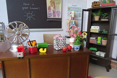 3. Miss Robert's desk (Foxy Belle) Tags: school classroom science biology barbie diorama desk 16 scale brick walls playscale ooak scene doll dollhouse last day