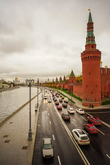 Kremlin with Moscow River at rainy day (phuong.sg@gmail.com) Tags: architecture belfry blue boat brick bridge building capital cars cathedral church city cityscape clouds day dome embankment europe foggy grand great history ivan kremlin landmark misty moscow old palace panorama place rain red river russia russian sky street summer sunset tour tourism tourist tower travel trip view wall water