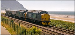 Return of the Tractors. (peterdouglas1) Tags: valleyflasks class37sdirectrailservices 37606 37218 6k41 penmaenmawr northwalescoastrailway
