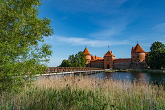 Trakai Island Castle (RichardJames1990) Tags: trakų salos pilis trakai island castle vytautas great kęstutislake galve lithuania eu europe vilneus 14th century ruin rebuilt reconstructed fort fortification panorama composite summer sunny clear blue sky red brick turret medieval romantic disney moat lake water relax holidat