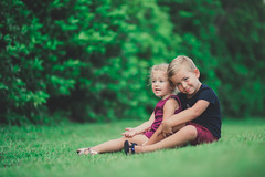 DSC_7549 (sunlitphotos) Tags: brothersister love siblings modern outdoors grass blonds blueeyes toddlers kiddos kidsfasion braids childhood