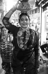 Bejewelled beauty (magiceye) Tags: street streetphoto streetportrait monochrome blackandwhite koli holi vesave versova mumbai india festival