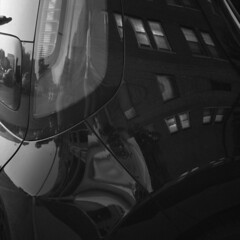 untitled (kaumpphoto) Tags: rolleiflex tlr 120 bw black white car auto reflection window automobile taillight street urban city minneapolis brick