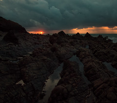 Drama at Yellow Rocks (EmPhoto.) Tags: exmoor yellowrocks wild uk landscapepassion emmiejgee pointandshoot fujifilmfinepixs1 sunset summerstorm