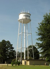 Angier Water Tower (Gerry Dincher) Tags: angier northcarolina harnettcounty smalltownnorthcarolina smalltown northcarolinahighway55 northraleighstreet watertower white angierwatertower angierorg