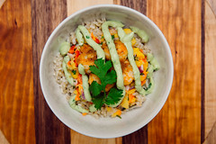 Shrimp Taco Bowl (Katherine Ridgley) Tags: food foodie seafood shrimp rice salsa mango pineapple cilantro crema avocadocrema sauce avocadosauce guacamole guacamolesauce homemade cooking cook kitchen presentation board cuttingboard bowl tacobowl taco mexican mexicanfood