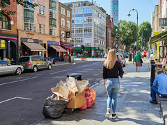 20180627T15-12-32Z-_6277261 (fitzrovialitter) Tags: peterfoster fitzrovialitter city streets rubbish litter dumping flytipping trash garbage urban street environment london streetphotography documentary authenticstreet reportage photojournalism editorial captureone olympusem1markii cosinavoigtländernokton175mmf095 geotagged girl jeans
