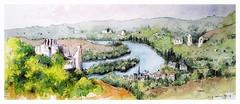 Les Andelys - château Gaillard - Normandie - France (guymoll) Tags: lesandelys gaillard châteaugaillard château normandie seine fleuve village panoramique panoramic aquarelle watercolour watercolor aguarela