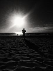 BEACH TIME! (Ageeth van Geest) Tags: silhouette silhouet iphone sunset beach strand sea sun light bw blackandwhite monochrome sgravenzande holland evening people sand water sky