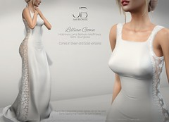 NEW! Mainstore Release - Lillian Gown (Just BECAUSE_SL) Tags: gown dress formal wedding bride bridesmaid mesh sexy sheer lace satin short long secondlife sl just because mainstore belleza slink maitreya