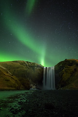 Emerald Skogafoss (Landscapeaddict) Tags: aurora borealis skogafoss waterfall water iceland stars astrophotography astronomy landscape nightscape longexposure nikond610 samyang 24mm