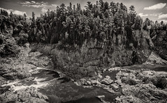 The Gorge of Grand Falls (SNAPShots by Patrick J. Whitfield) Tags: hdr blackwhite blackandwhite noiretblanc noire monochrome bw bnw light patterns lines texture detail dof landscapes waterfalls rocks nature outside trees skies clouds gorge water