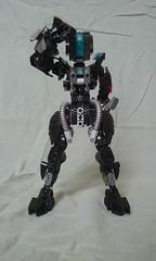 Lego MOCs: Unit 23 (ohlookitsanartist) Tags: lego bionicle moc ccbs armor robot female black blue police force officer metal