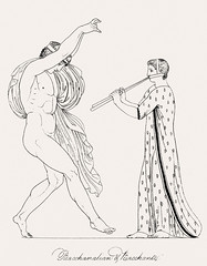Bacchanalian & bacchante from An illustration of the Egyptian, Grecian and Roman costumes by Thomas Baxter (1782-1821).Digitally enhanced by rawpixel. (Free Public Domain Illustrations by rawpixel) Tags: illustration psd publicdomain otherkeywords afterlife anillustrationoftheegyptian ancient ancientgreek antique art artistic bacchanalian bacchanalianbacchante bacchante baxter belief blowing cc0 dancing drawing empire flute gods grecianandromancostumes greek historic historical history man muscle mythology old oldtime romans sketch standing stick thomasbaxter vintage woman worship