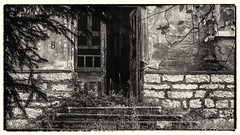 Entrance of the old school in Varbovchets (Milen Mladenov) Tags: 2018 bw blackandwhite landscape varbovchets abandoned architecture building door oldphoto stairs tree