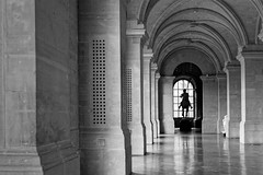The lone rider (Guillaume DELEBARRE) Tags: muséedesbeauxarts noiretblanc nb blackandwhite gallery colonnade monochrome architecture lille grey ef50f12 dof perspective statue
