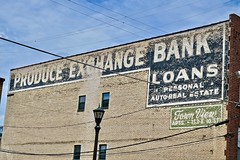 Produce Exchange Bank, St. Paul, MN (Robby Virus) Tags: stpaul minnesota mn saint paul ghost sign signage painted wall ad advertisement town view apartments produce exchange bank loans personal auto real estate