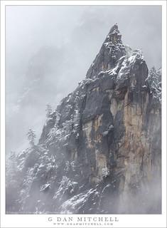 Spire, Mist, and Snow