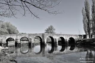 Croatia, Novigrad na Dobri - B/W Old bridge over river Dobra