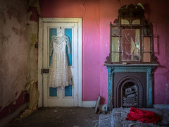 Always the Bridesmaid (Siobhán Bermingham) Tags: fireplace naturallight abandoned decay ireland house mirror deserted pink old dress urbex door