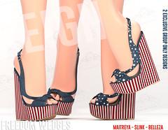 REIGN.-FREEDOM WEDGES (REIGN♥) Tags: reign teamreign secondlife shoes summer slink sandals sl freebie groupgift maitreya mesh belleza body kenadee kenadeecole kenadeereign