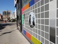 Street art Croydon, London (DJLeekee) Tags: streetart graffiti london croydon parkstreet pacman tescard bbc barsandtone girl puppet