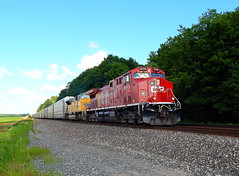 Canadian Pacific with an UP SD9043MAC west of Kendallville Indiana (Matt Ditton) Tags: canadian pacific union up sd9043mac indiana