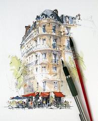 Café Français, Place de la Bastille, Paris. (alexhillkurtzart) Tags: urbansketch usk watercolor paris