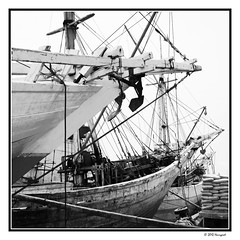 traditional wooden boats (harrypwt) Tags: harrypwt 11 square canons95 s95 indonesia java island bw monochrome sundakalapa wharf harbor jakarta
