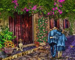 generation lane (sw2018 (Alt_images)) Tags: road street lane cobbles couple dog flowers ols art