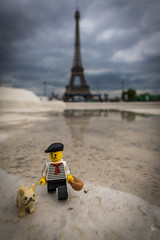 Marcel, a Parisian in Paris (Ballou34) Tags: 2017 7dmark2 7dmarkii 7d2 7dii afol ballou34 canon canon7dmarkii canon7dii eos eos7dmarkii eos7d2 eos7dii flickr lego legographer legography minifigures photography stuckinplastic toy toyphotography toys paris16earrondissement îledefrance france fr 7d mark 2 ii eos7d stuck plastic paris in dog bread eiffel tower reflection