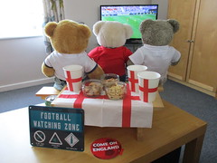 Football Watching Zone (pefkosmad) Tags: gingernutt ginger nobbynomates nobby tedricstudmuffin ted teddy bear animal cute cuddly toy fluffy plush stuffed soft worldcup2018 russia england belgium 3rdplaceplayoff nibbles food drink snax snacks watch tv television