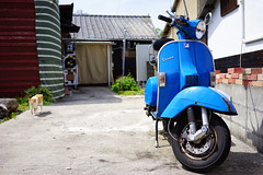 Vespa and friend (Eric Flexyourhead) Tags: ogijima 男木島 おぎじま takamatsu takamatsushi 高松市 kagawa kagawaken kagawaprefecture 香川県 setonaikai 瀬戸内海 setouchi japan 日本 village villagelife detail fragment cat chat katze kat katt gatto neko 猫 nekochan 猫ちゃん cute kawaii かわいい straycat noraneko scooter italian vespa blue sonyalphaa7 zeisssonnartfe35mmf28za zeiss 35mmf28