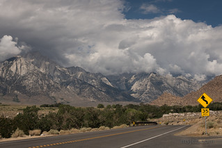 Driving through the Alabama Hills on the Mt. Whitney Portal Road