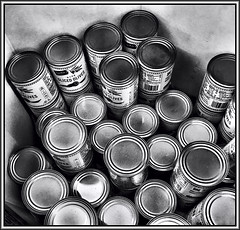Sale (Bob R.L. Evans) Tags: food olives cannedfood circles metal tin tincans backandwhite composition graytones curves rows repetition grocerystore