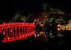 Red Bridge in Hanoi, Vietnam (` Toshio ') Tags: toshio hanoi vietnam hoànkiếmlake thehucbridge bridge night lake temple asia asian vietnamese fujixt2 xt2 reflection travel