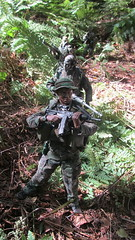 Patrol (Inaction Figure) Tags: usarmy usarmyrangers soldier forest jungle woodlandcamouflage camouflage m4carbine m4rifle rifle binoculars actionfigure actionman gijoe 1990s blueboxinternational dragonmodelsltd 21stcenturytoys onesixthscale onesixth 16 12inchactionfigures 12inch