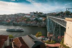 Dom Luís I Bridge Over the Duoro River in Porto (nan palmero) Tags: domluísibridge porto portugal pt sony sonya7riii sonyalpha vilanovadegaia boat ship barge