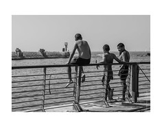 People in Yafo (Tel Aviv) 02 (BonjourAna_photo) Tags: people happy sea swim beach port telaviv yafo blackandwhite bnw monochrome