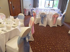 Crowne Plaza Reading - Light Pink and Light Blue Satin (Beau Events) Tags: butterflybow crowneplazareading lightblue lightpink sashes satin wedding whitechaircovers