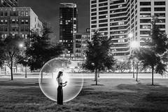 My Own Bubble (jeff_a_goldberg) Tags: night portrait kimhenry lightpainting ericparé outofchicago grantpark blackandwhite model bw monochrome chicago summer illinois unitedstates us street streetart streetphotography streetfashion