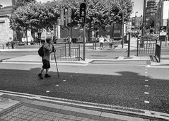 Caution - Photographer at work (dlsmith) Tags: leeds blancoynegro blackwhite byn bw street monochromatic monochrome white black photography photographer