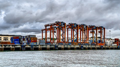 Lisbon, Portugal: Shipping container port near Ponte 25 de Abril (nabobswims) Tags: containerport crane hdr highdynamicrange ilce6000 lightroom lisboa lisbon nabob nabobswims pt photomatix portugal sel18105g sonya6000