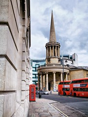 all souls, langham place (khrawlings) Tags: allsouls langhamplace red bus telephone box london bbc city capital church spire columns wall