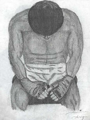 waiting_by_adreeh (Mechwing) Tags: waiting profile pencil wrestler wrestling fighter fighting boxer boxing patient wait art charcoal black white gray grey africanamerican gloves fit fitness champion champ drawing draw sketch afro man men male manly ufc mma